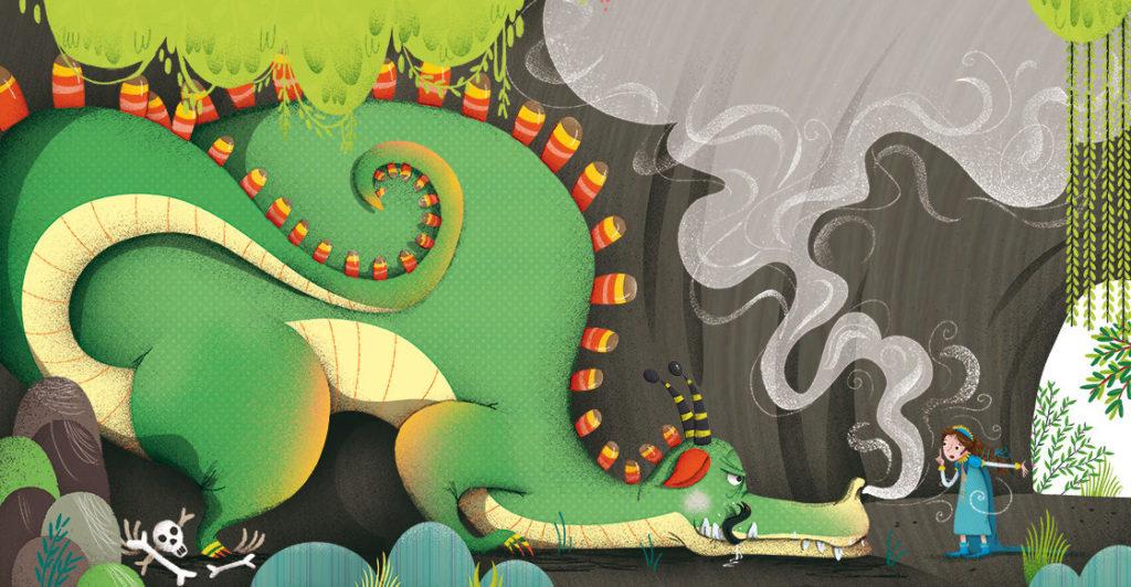 laura_giorgi_Dragon_Princess_tale_cave_illustration_children